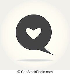 speech bubble with heart thin, line icon on white background isolated flat