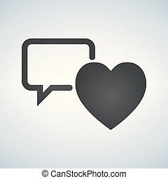 speech bubble with heart thin, line icon on white background isolated flat.