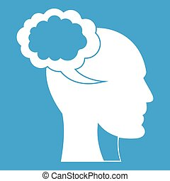 Speech bubble with human head icon white