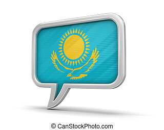 Speech bubble with Kazakh flag. Image with clipping path
