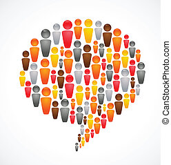 speech bubble with many abstract people