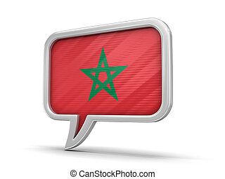 Speech bubble with Morocco flag. Image with clipping path