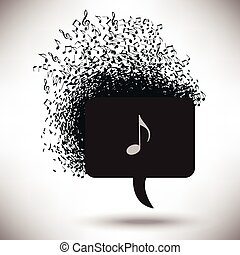 Speech Bubble with Musical Notes