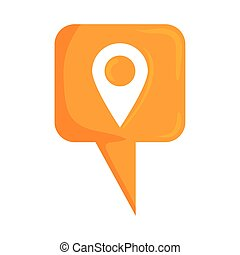 speech bubble with pin location social media icon