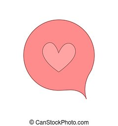 speech bubble with pink heart shape. vector design illustration