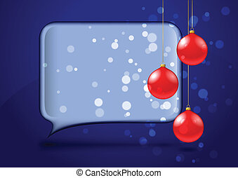 Speech bubble with red christmas baubles