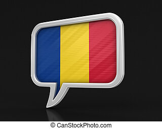 Speech bubble with Romanian flag. Image with clipping path