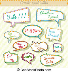 speech bubbles 3d with sale text