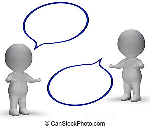 Speech Bubbles And 3d Characters Shows Discussion And Gossip