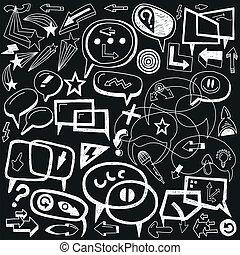 speech bubbles and arrows - doodles set