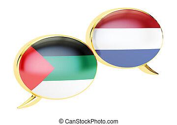 Speech bubbles, Arabian-Dutch translation concept. 3D rendering