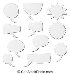 speech bubbles as white cardboard