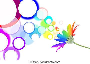 Speech bubbles come out of rainbow flower