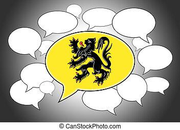 Speech bubbles concept - spoken language is that of Flanders