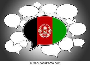 Speech bubbles concept - spoken language is Afghan