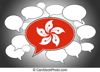 Speech bubbles concept - spoken language is that of Hong...
