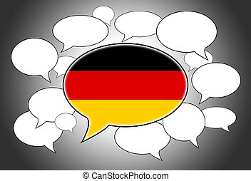 Speech bubbles concept - spoken language is German