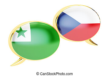 Speech bubbles, Czech-Esperanto translation concept. 3D rendering