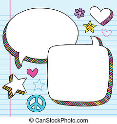 Speech Bubbles Doodle Vector Set - Speech Bubbles Frames...