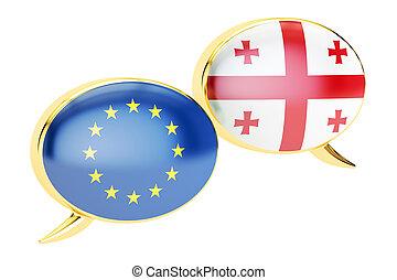 Speech bubbles, EU-Georgia conversation concept. 3D rendering