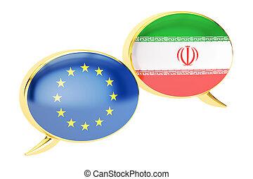 Speech bubbles, EU- Iran conversation concept. 3D rendering