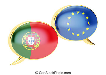 Speech bubbles, EU-Portugal conversation concept. 3D rendering