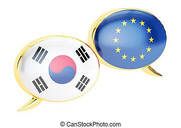 Speech bubbles, EU-South Korea conversation concept. 3D rendering