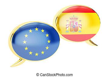 Speech bubbles, EU-Spain conversation concept. 3D rendering