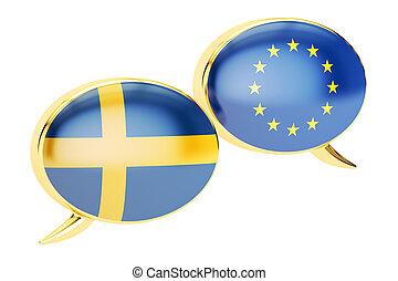 Speech bubbles, EU-Sweden conversation concept. 3D rendering