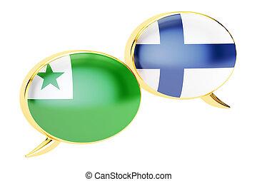 Speech bubbles, Finnish-Esperanto conversation concept. 3D rendering