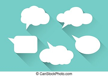 Speech bubbles flat icons set.