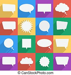 Speech bubbles flat icons set. Vector illustration