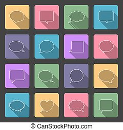Speech bubbles flat icons set