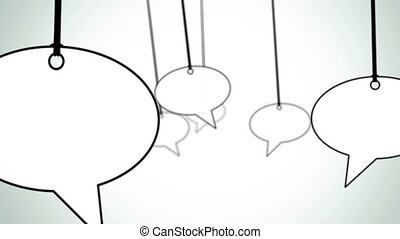 speech bubbles fly through