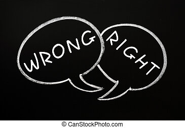 Speech bubbles for Right and Wrong - Two speech bubbles ...