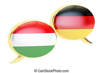 Speech bubbles, German-Hungarian conversation concept. 3D rendering