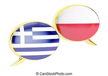 Speech bubbles, Greek-Polish translation concept. 3D rendering