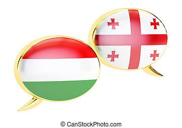 Speech bubbles, Hungarian-Georgian translation concept. 3D rendering