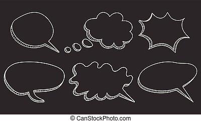 Speech bubbles icon set. Hand drawn vector illustration on black background.