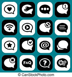 Speech bubbles icons. Chat and messages icons.