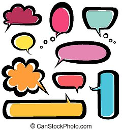 speech bubbles icons set