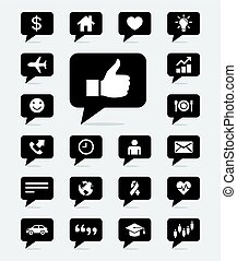Speech bubbles icons set. Vector illustrations.