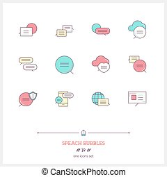 Speech bubbles icons set. Vector logo icons illustrations.