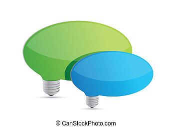 speech bubbles idea lightbulbs illustration design over white