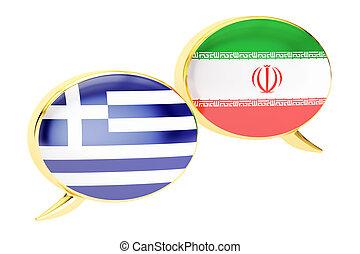 Speech bubbles, Iranian-Greek translation concept. 3D rendering