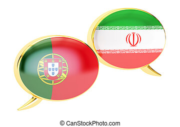 Speech bubbles, Iranian-Portuguese translation concept. 3D rendering