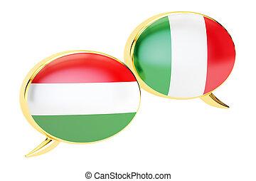 Speech bubbles, Italian-Hungarian translation concept. 3D rendering