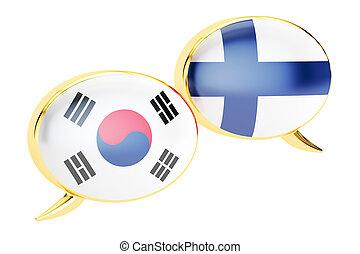 Speech bubbles, Korean-Finnish translation concept. 3D rendering