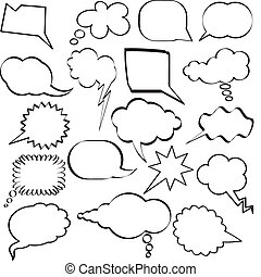 Speech bubbles - Large collection of sketch styled speech...