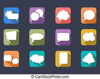 speech bubbles long shadow icons